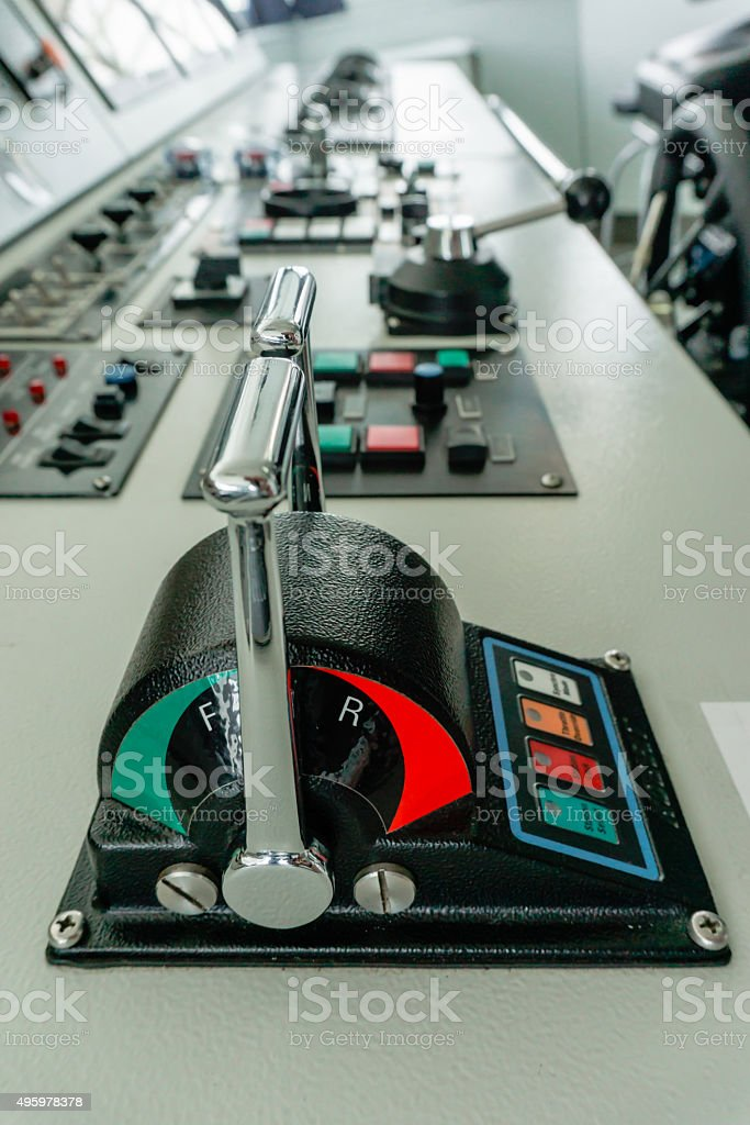 telagraph on panel board in ship control room stock photo