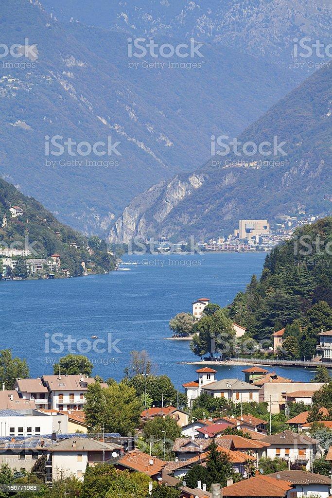 Tele shot from Besano til Lugano stock photo