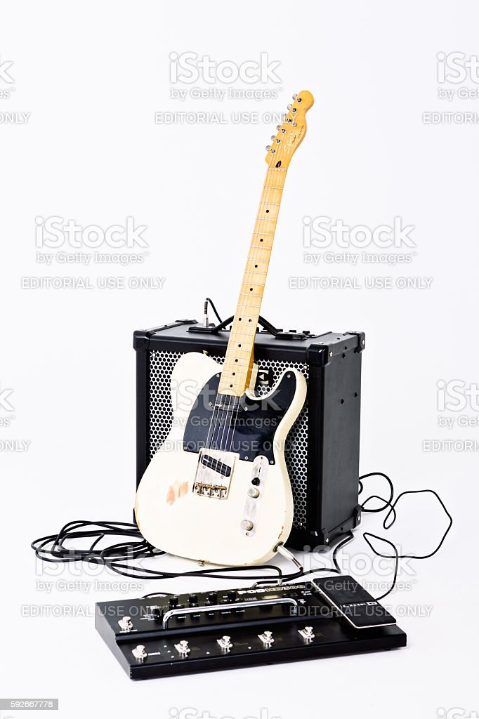 Telecaster Thinline electric guitar from Squier with Amplifier, multi-effects unit stock photo
