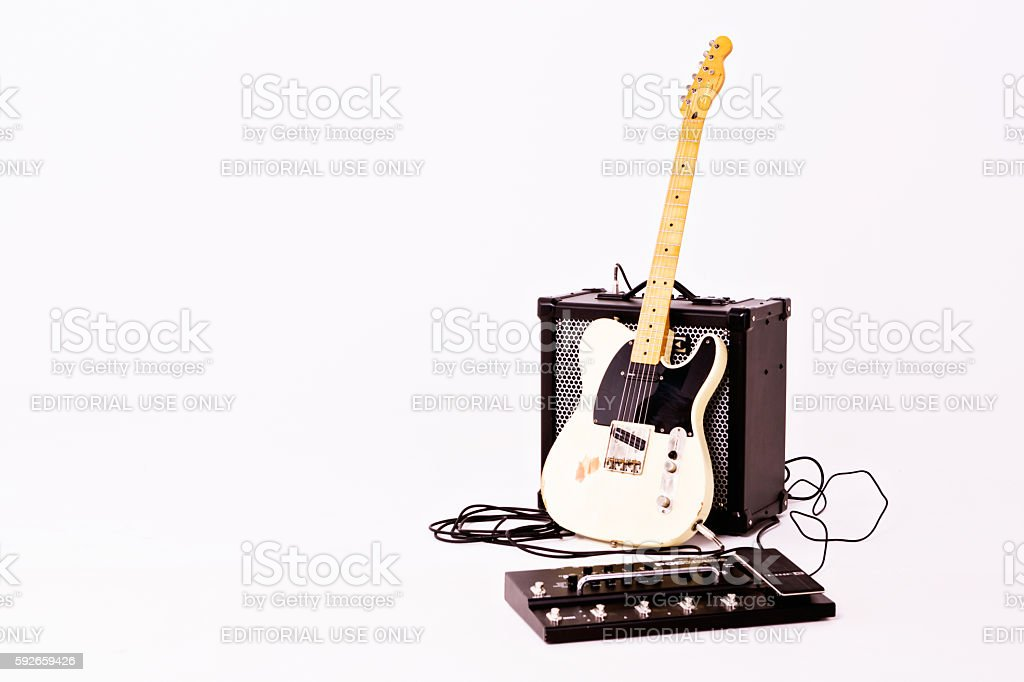 Telecaster Thinline from Squier with Roland Amp and mulit-effects unit stock photo