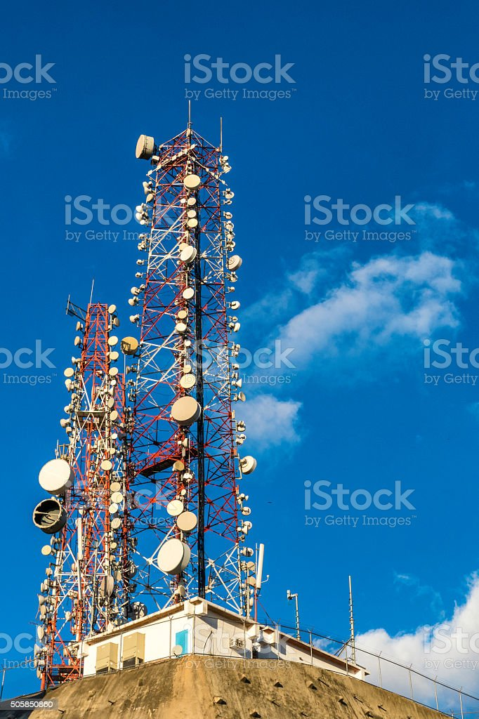 Telecommuncations tower for mobile and cell phone stock photo