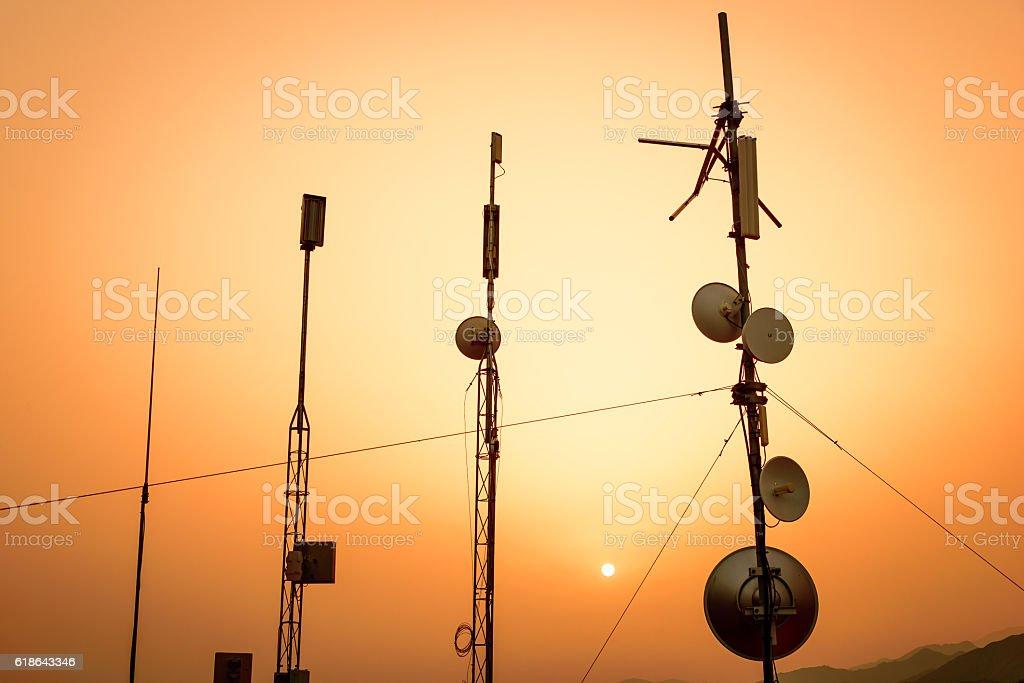 Telecommunication aerials stock photo