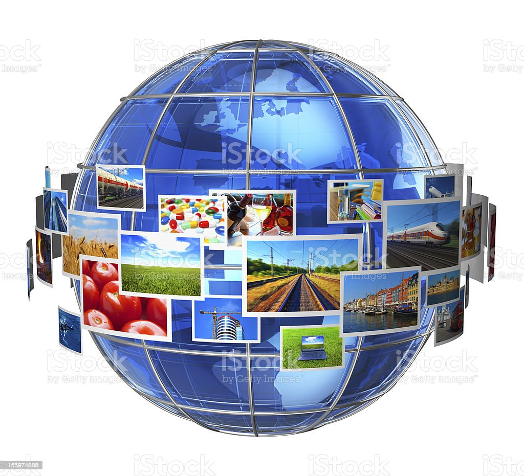 Telecommunication and media technologies concept stock photo