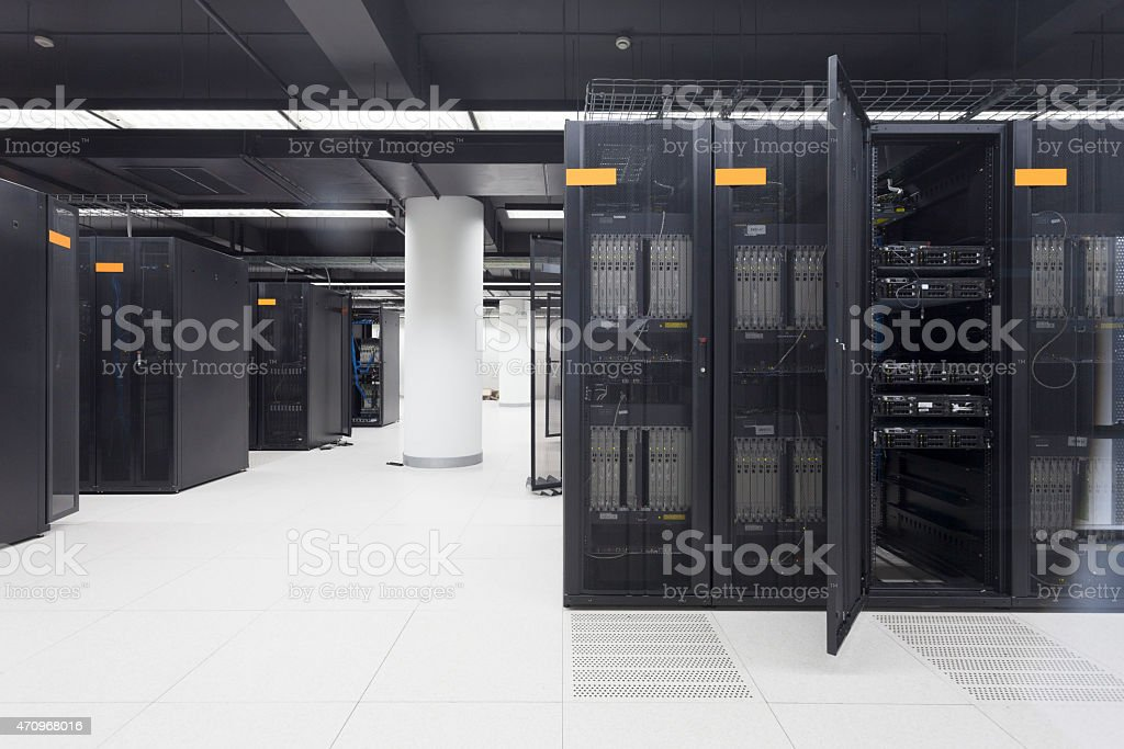 telecommunication devices in the data center stock photo