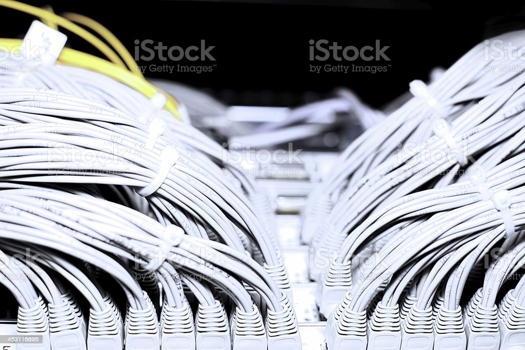 Telecommunication E1 line in a datacenter. royalty-free stock photo