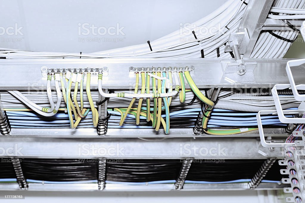 Telecommunication equipment, main power line royalty-free stock photo