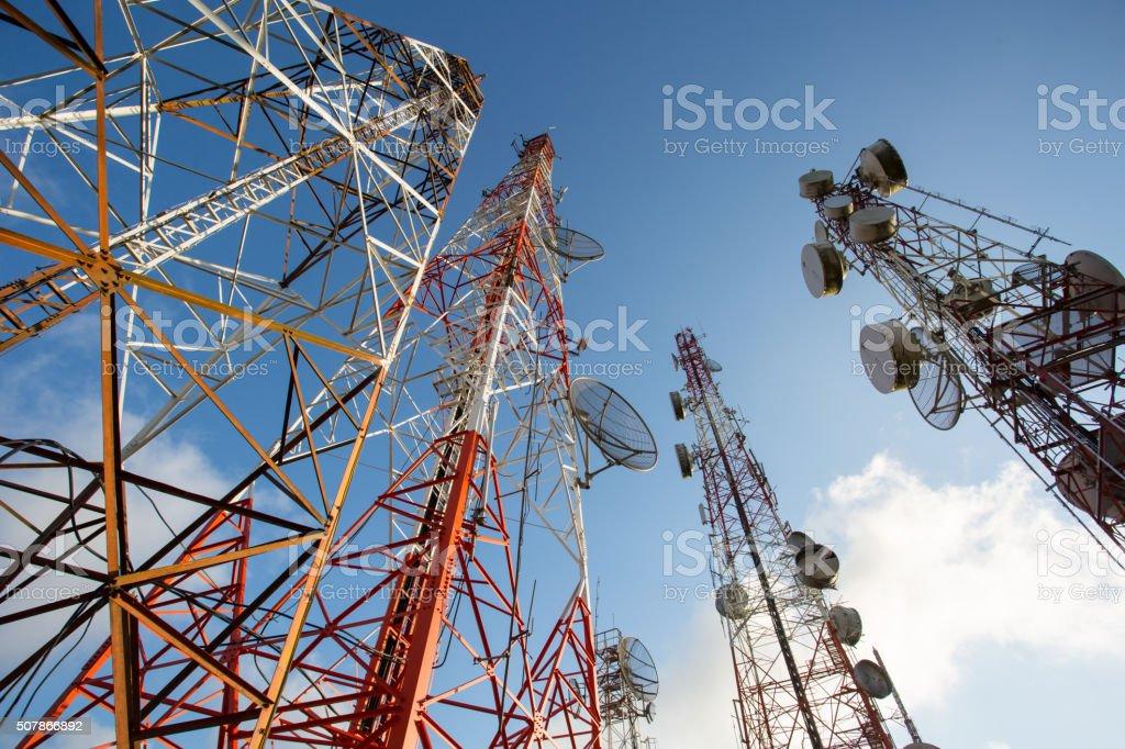 Telecommunication mast TV antennas wireless technology stock photo