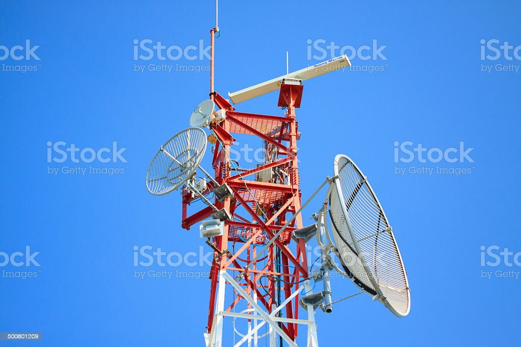 Telecommunication mast with microwave link stock photo