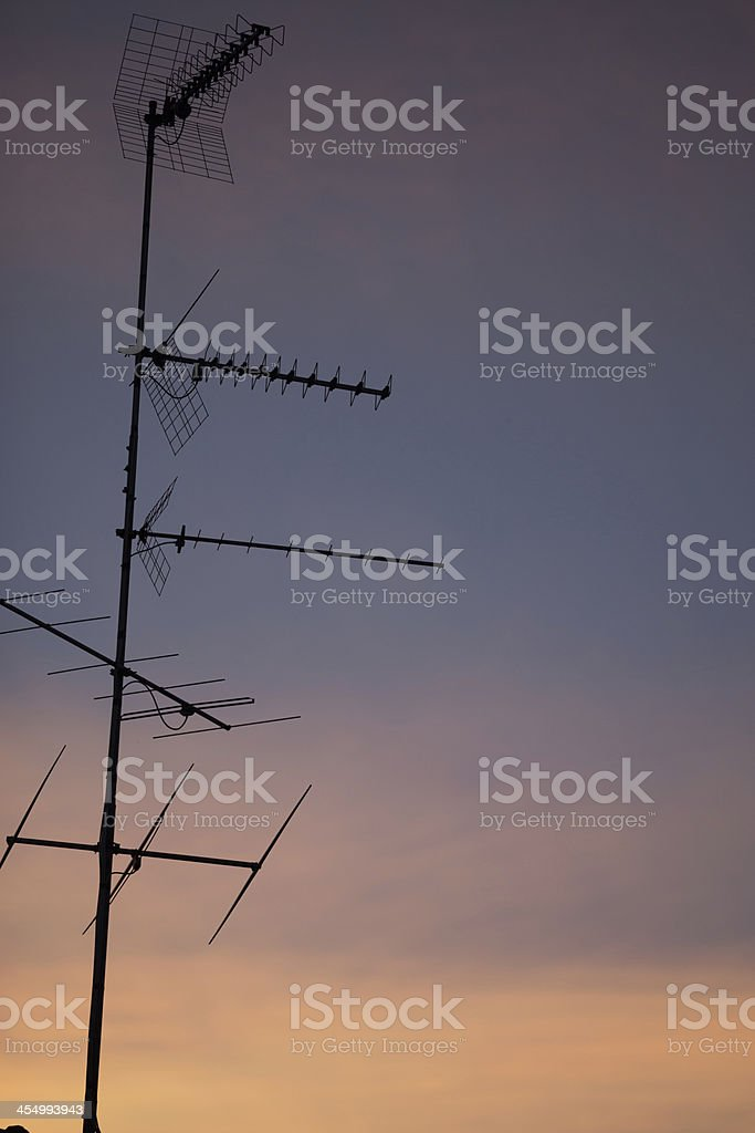 Telecommunication Repeater At Sunset royalty-free stock photo