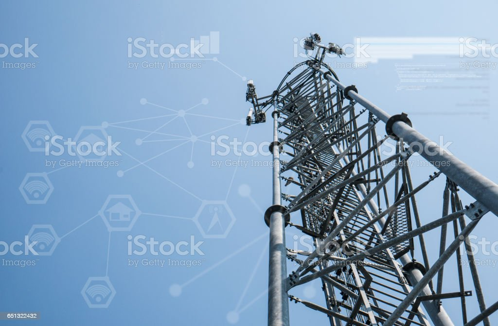 Telecommunication tower and blue sky with info graphic stock photo