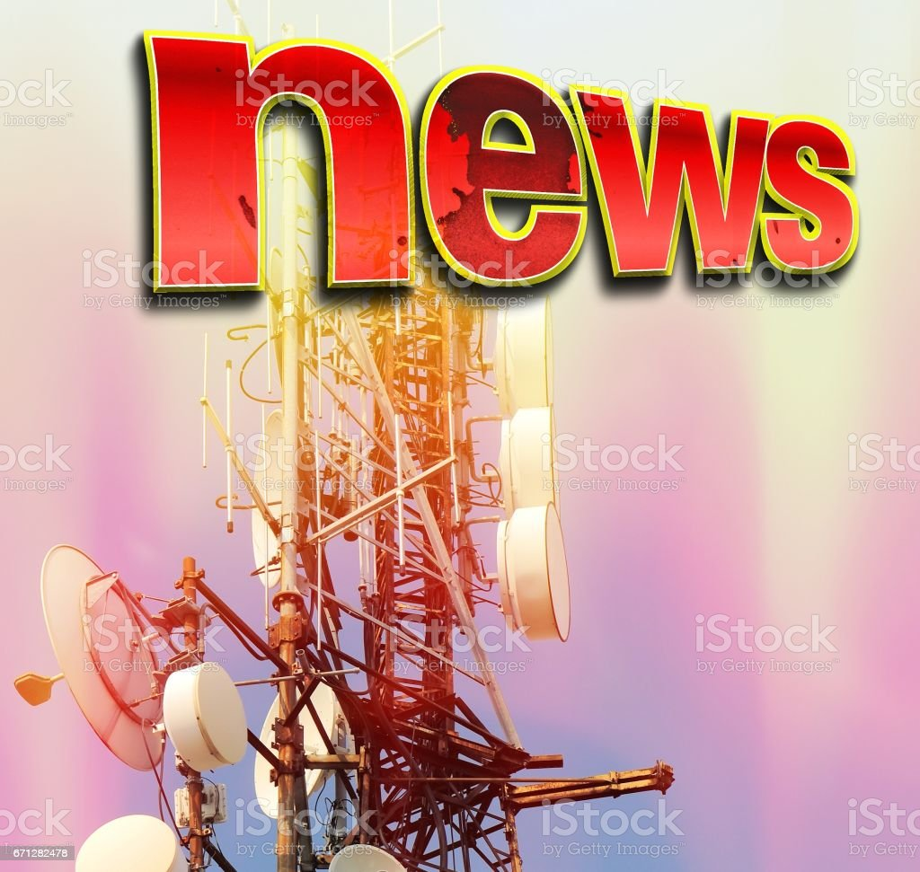 Telecommunication tower Antenna with red word NEWS. stock photo