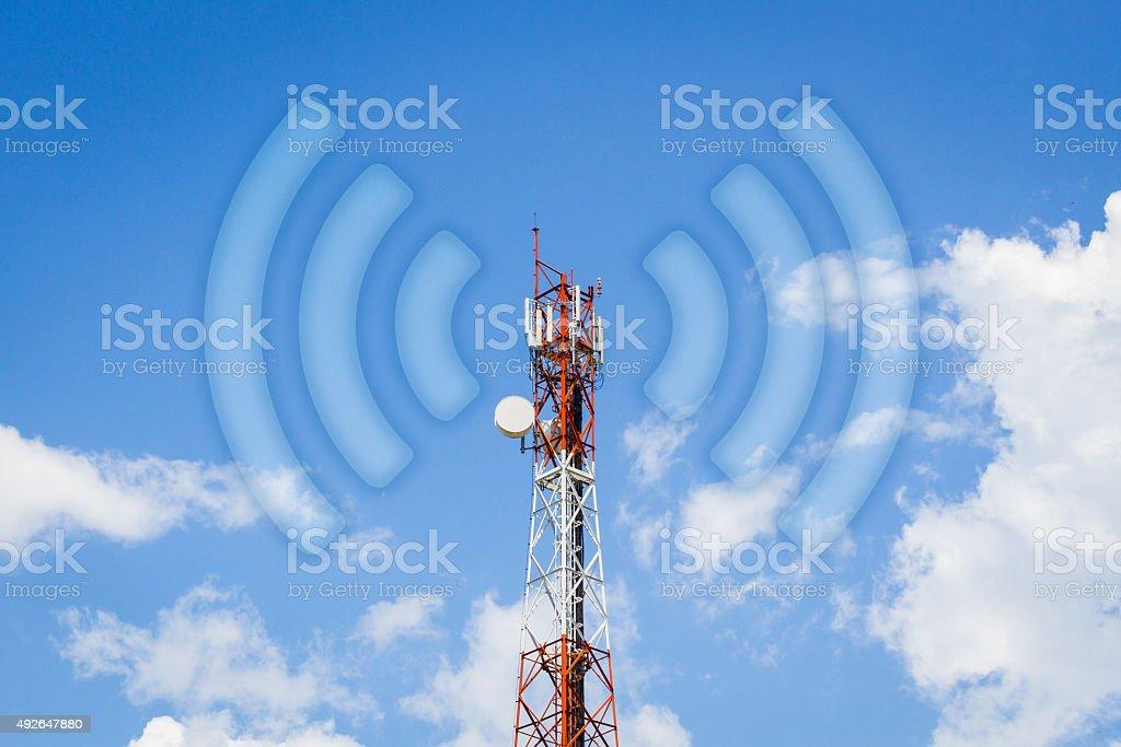telecommunication tower communication tower with wi-fi wave stock photo