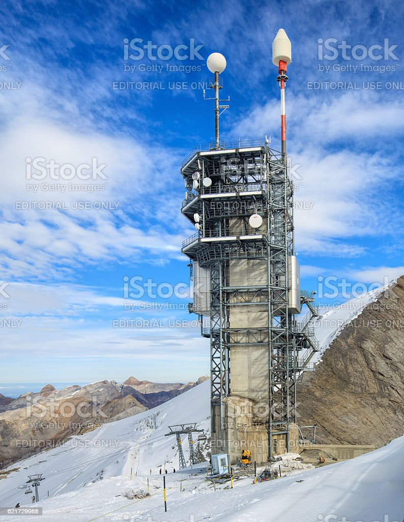 Telecommunication tower on the top of Mt. Titlis stock photo