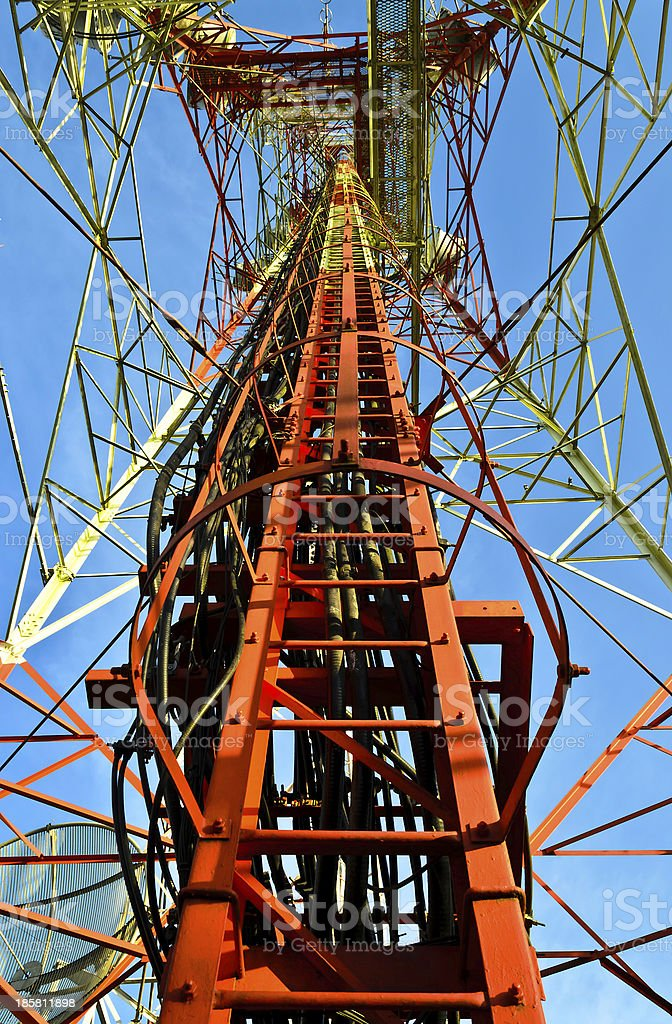 Telecommunication tower stair and structure royalty-free stock photo