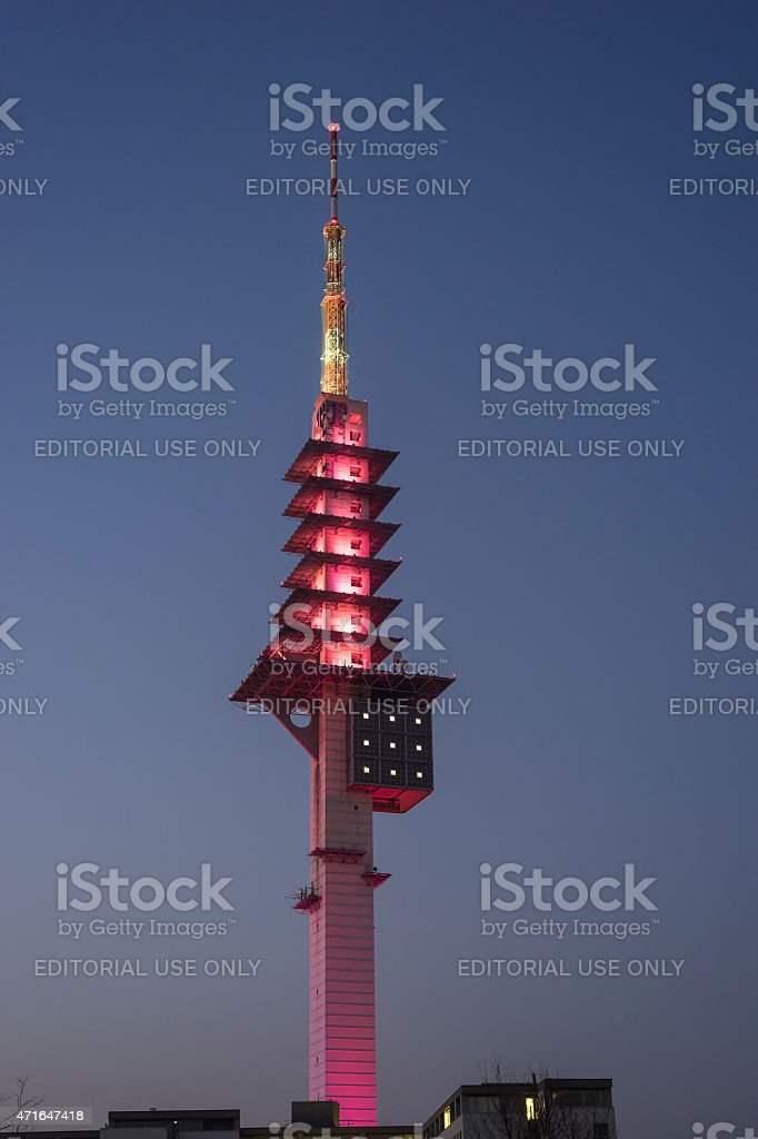 Telecommunication tower Telemax in Hannover stock photo
