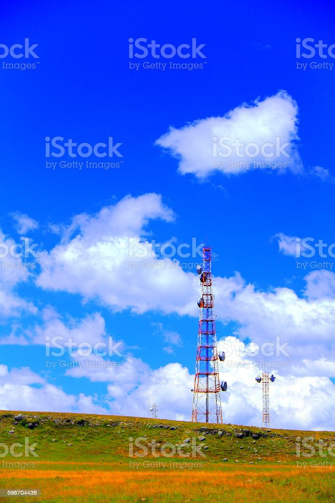 Telecommunication towers. stock photo