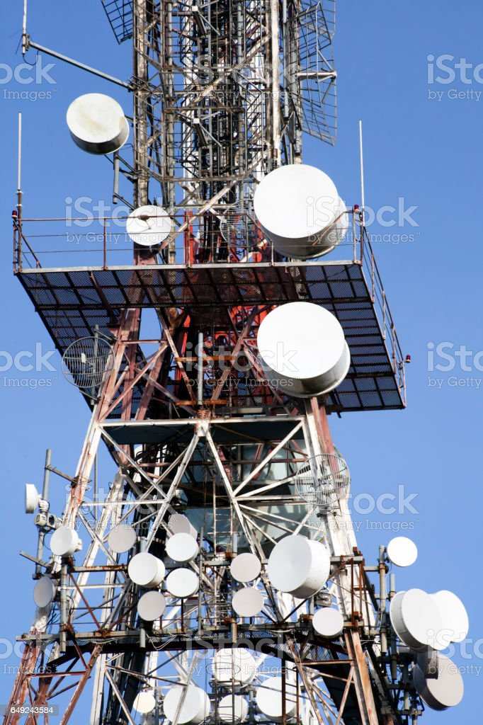 Telecommunications antenna tower stock photo