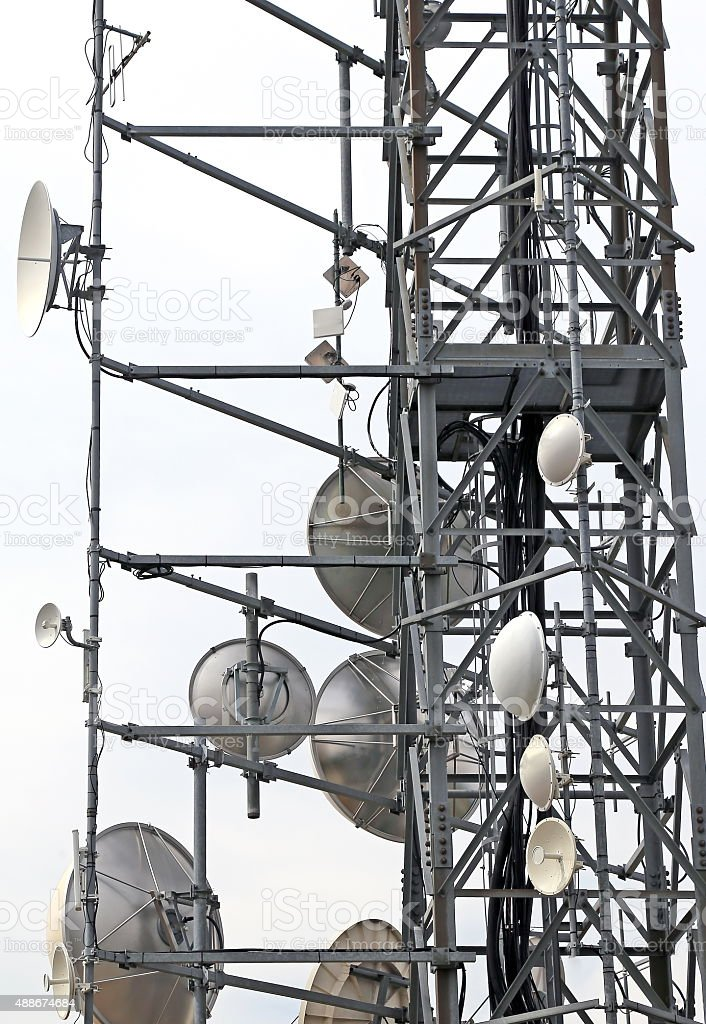 telecommunications antennas and repeaters stock photo