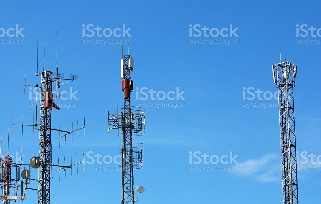 Telecommunications antennas stock photo