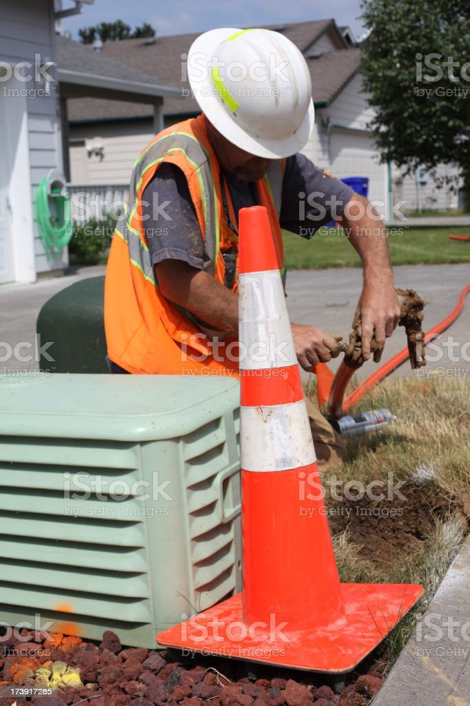 Telecommunications Crew Installs Fiber Optic royalty-free stock photo