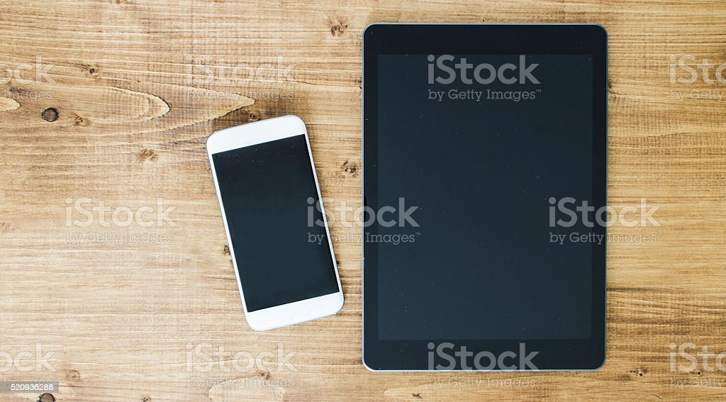 Telecommunications equipment on desk with copy space stock photo