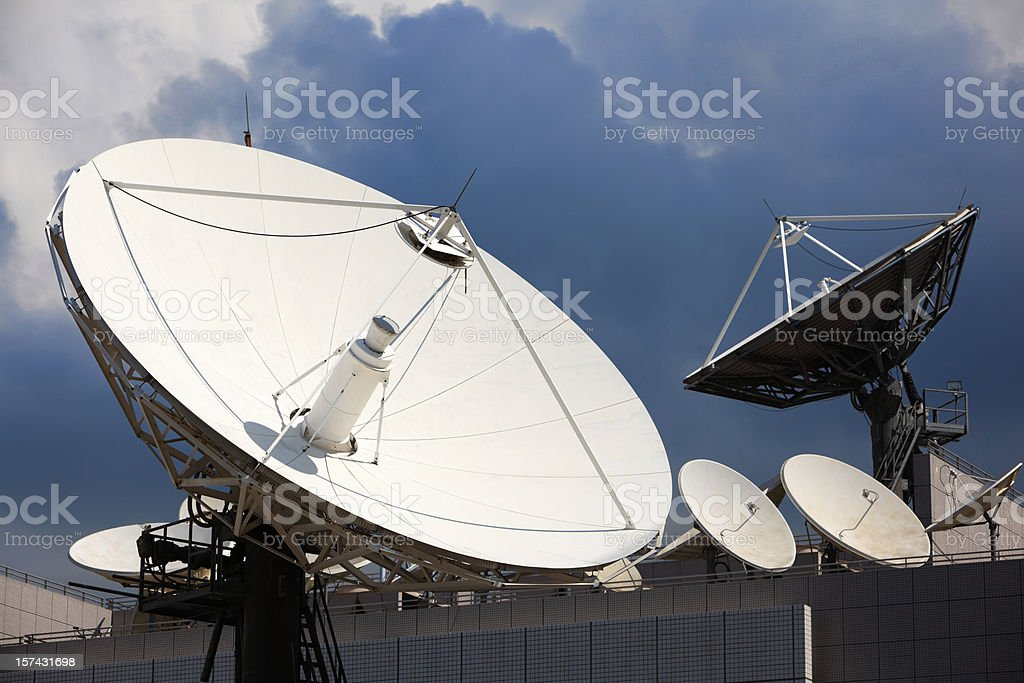 Telecommunications satellites at a very large scale stock photo