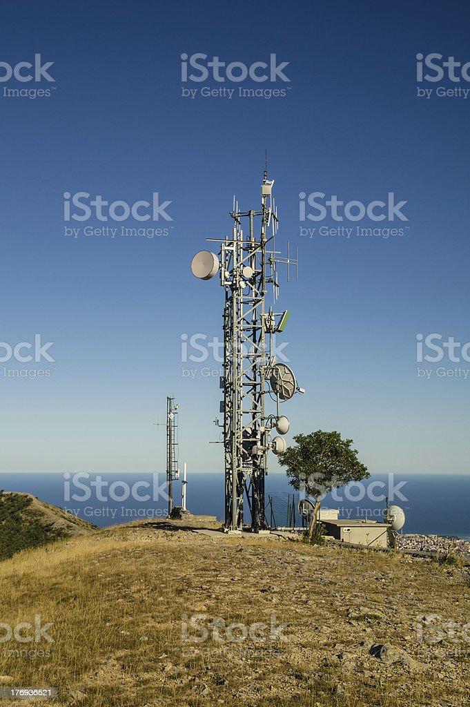 Telecommunications tower landscape royalty-free stock photo