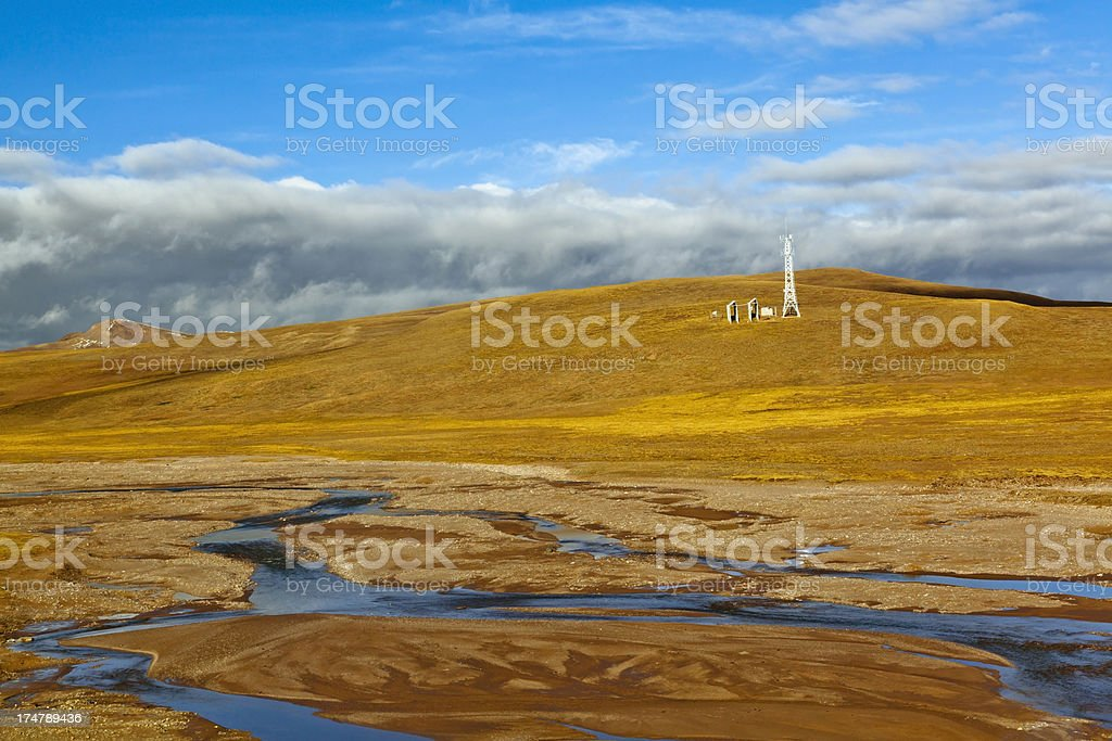 Telecommunications tower on the hill royalty-free stock photo