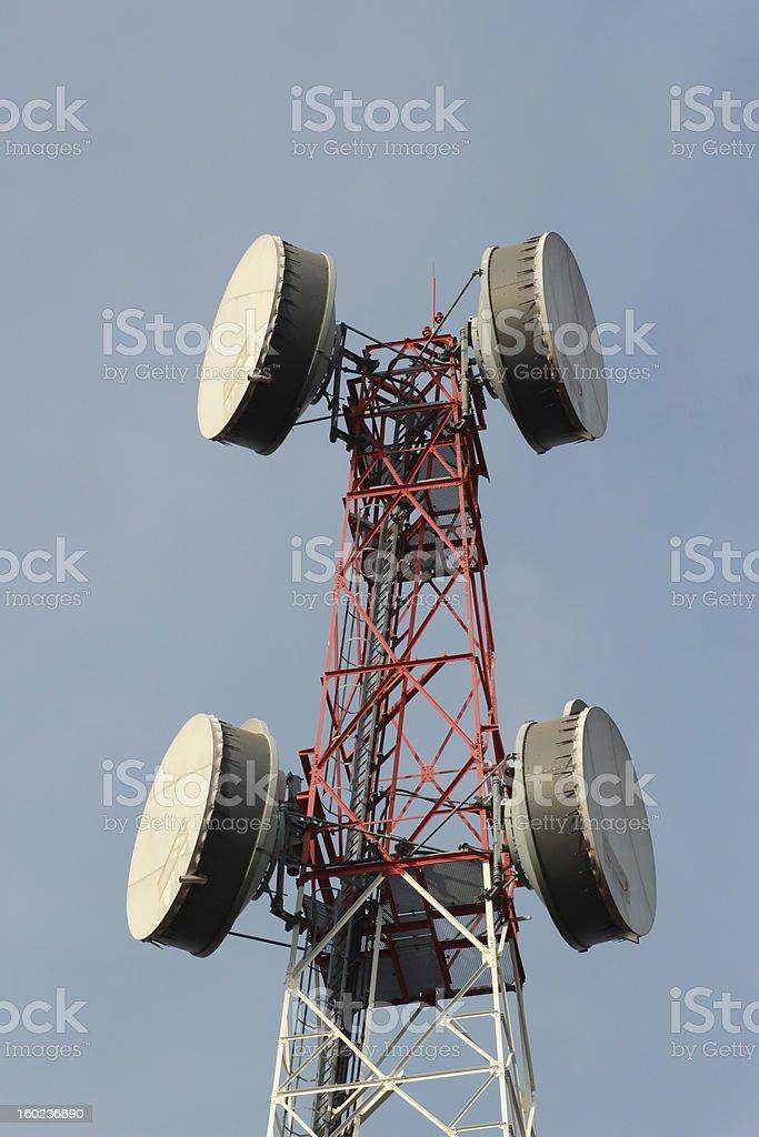 telecommunications tower with many satellite dish royalty-free stock photo