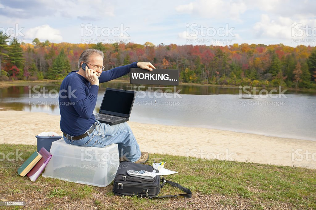 Telecommuting Working By The Lake royalty-free stock photo