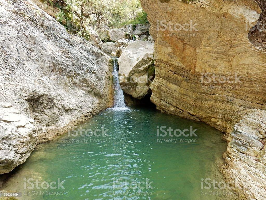 Teleferica su cascata stock photo