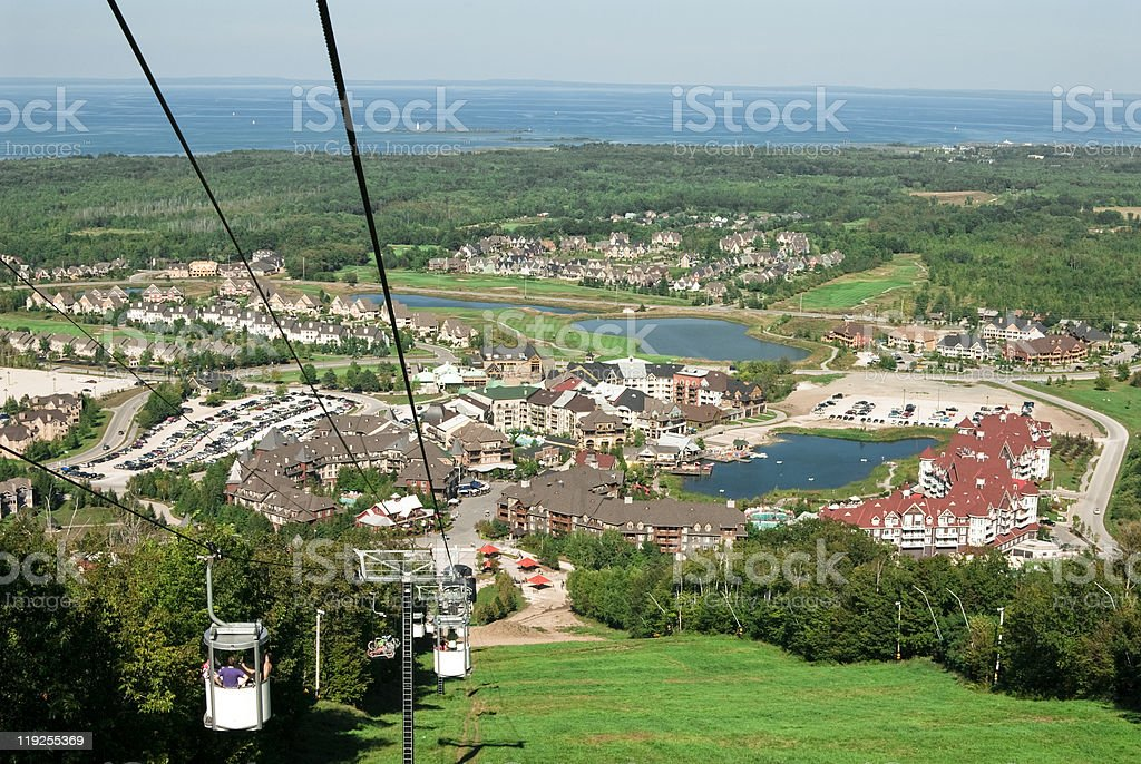 telefrique view of the blue mountain village stock photo