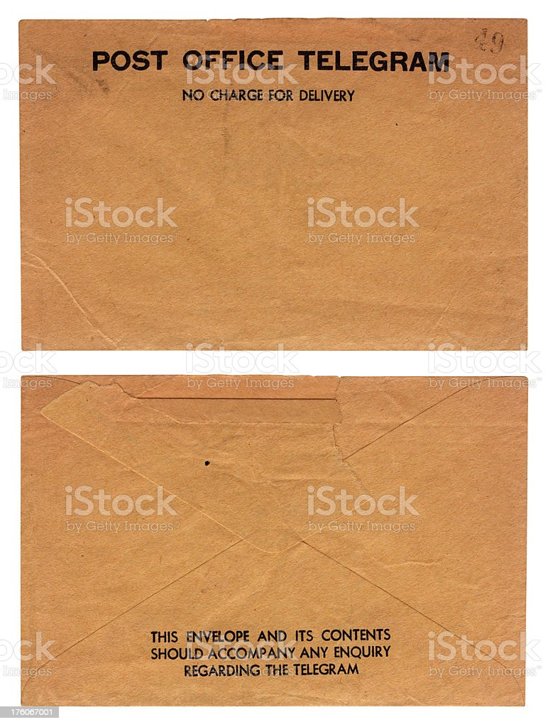 Telegram envelope - back and front stock photo