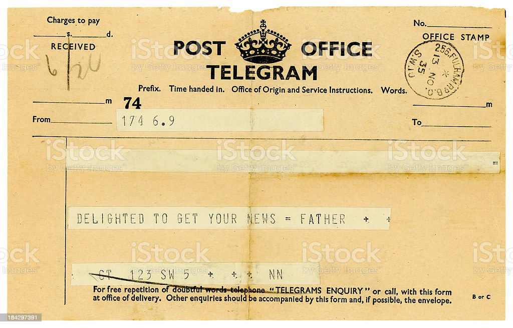 Telegram from 'Father' 1935 stock photo