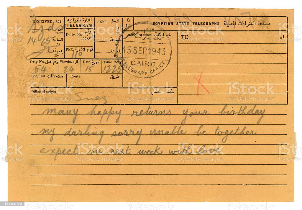 World War Two telegram from Egypt, 1943 stock photo