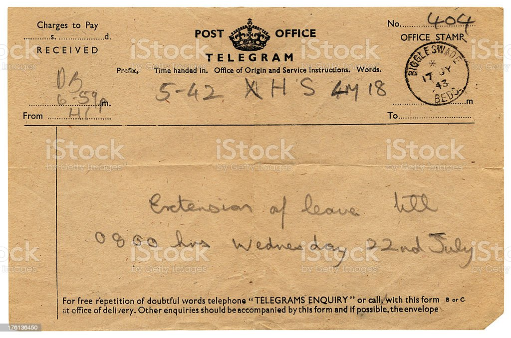 Extension of leave British serviceman's telegram, 1943 royalty-free stock photo