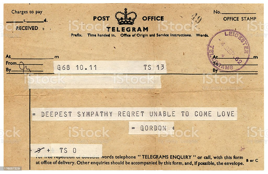 Sympathetic British telegram 1962 stock photo