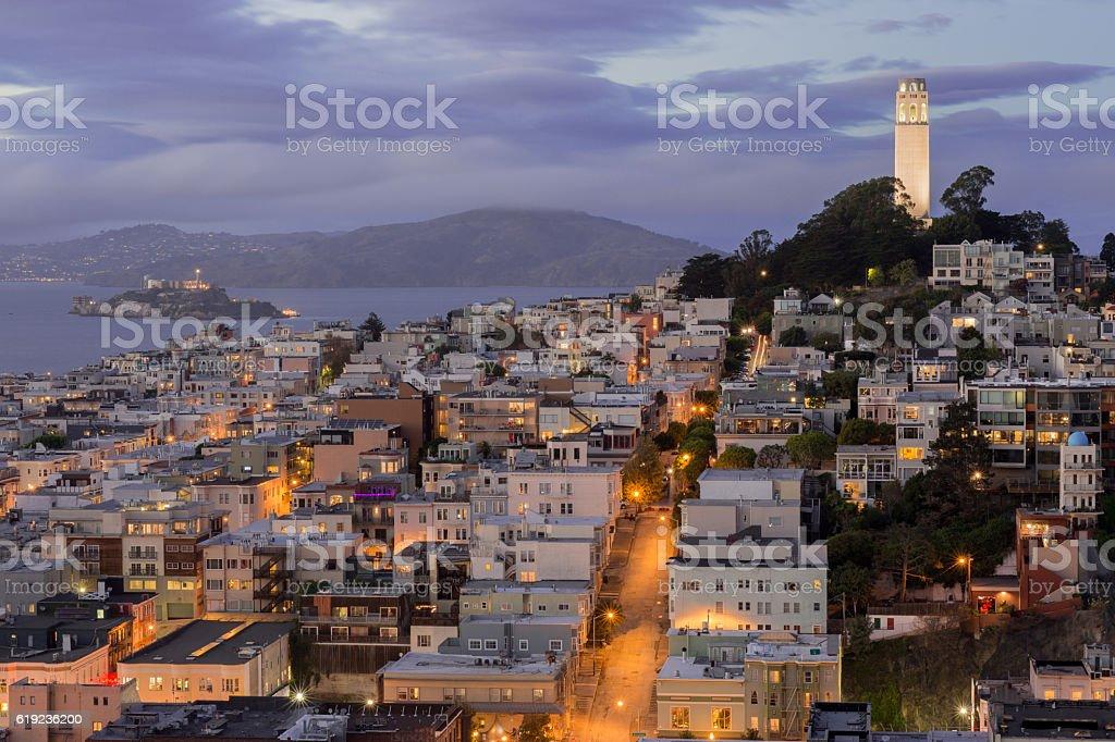 Telegraph Hill and North Beach Neighborhoods stock photo