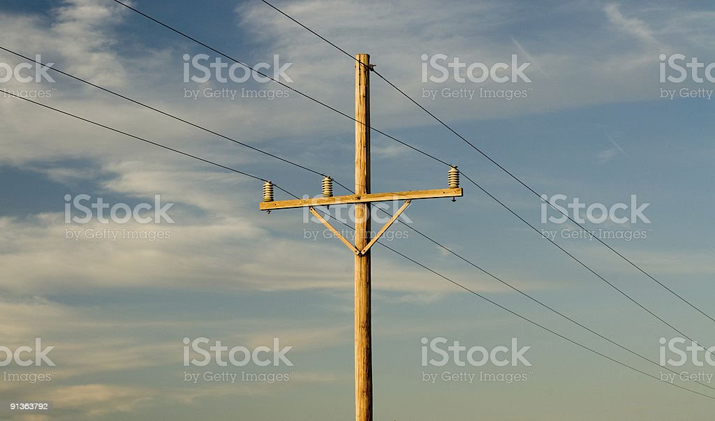 Telegraph pole against blue sky royalty-free stock photo