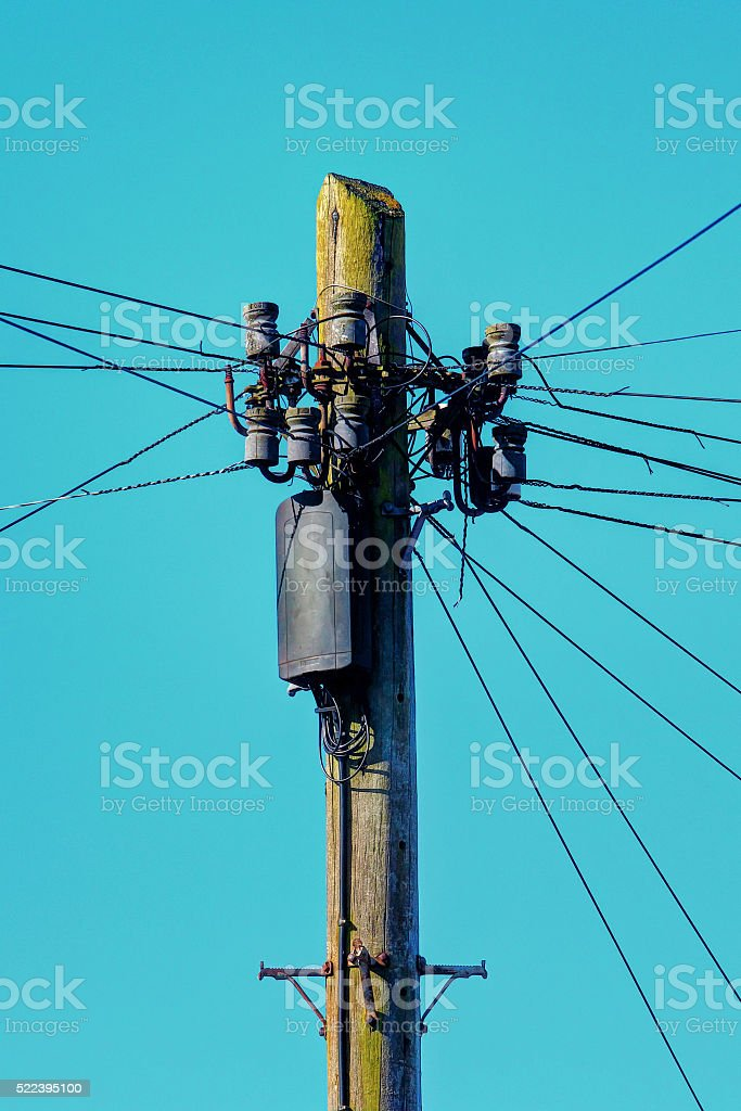 Telegraph pole. stock photo
