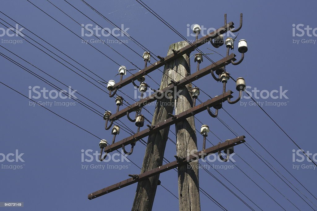 Telegraph (telephone) pole & wires. stock photo