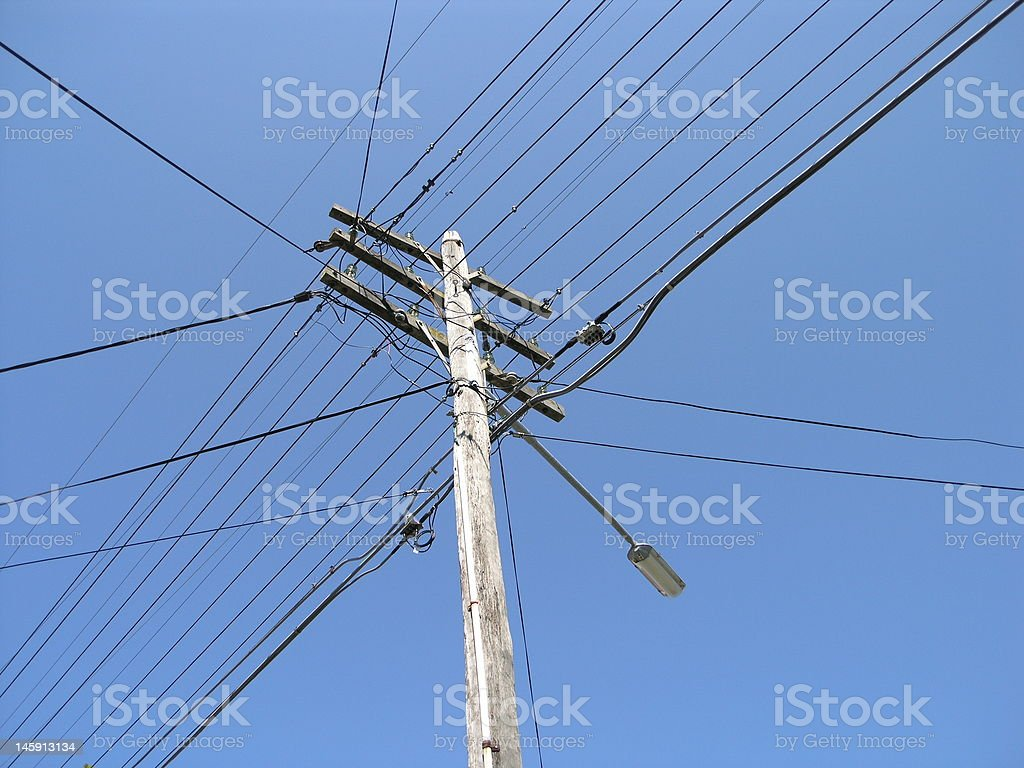 Telegraph Pole with communication, light and power cables royalty-free stock photo