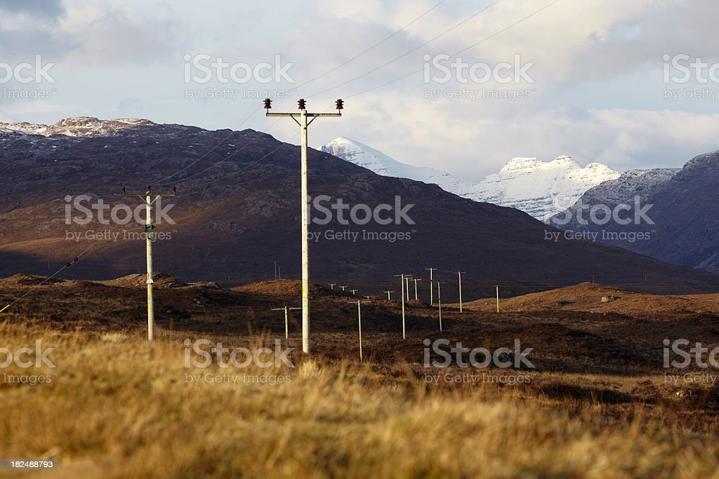 Telegraph poles in a row through moor , Wester Ross, Scotland royalty-free stock photo