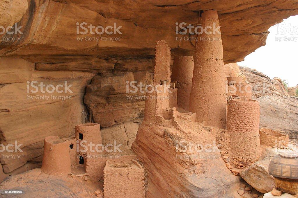 Telem Granary in Dogon Village, Mali stock photo
