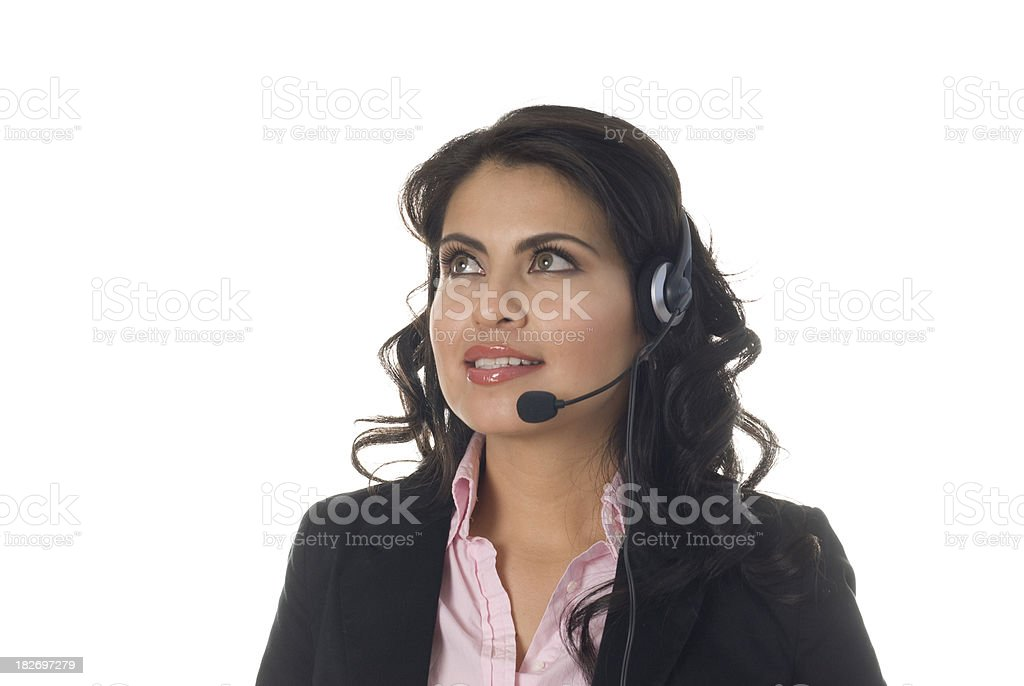 Telemarketer in Thought stock photo