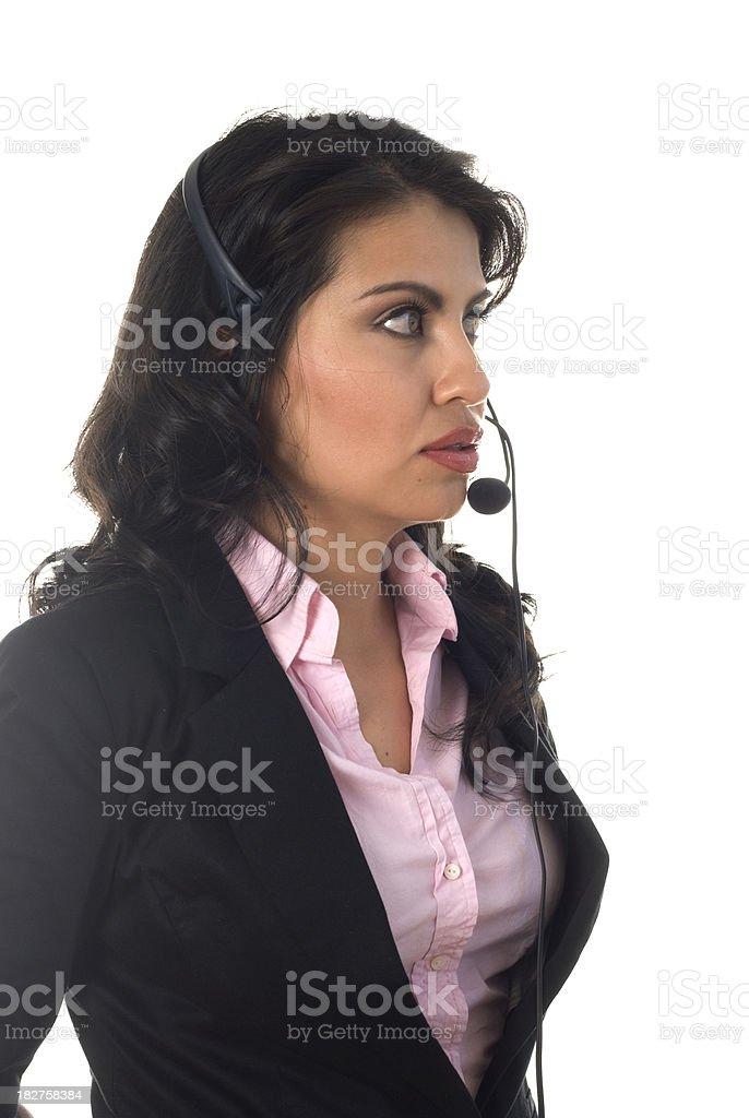 Telemarketer profile stock photo