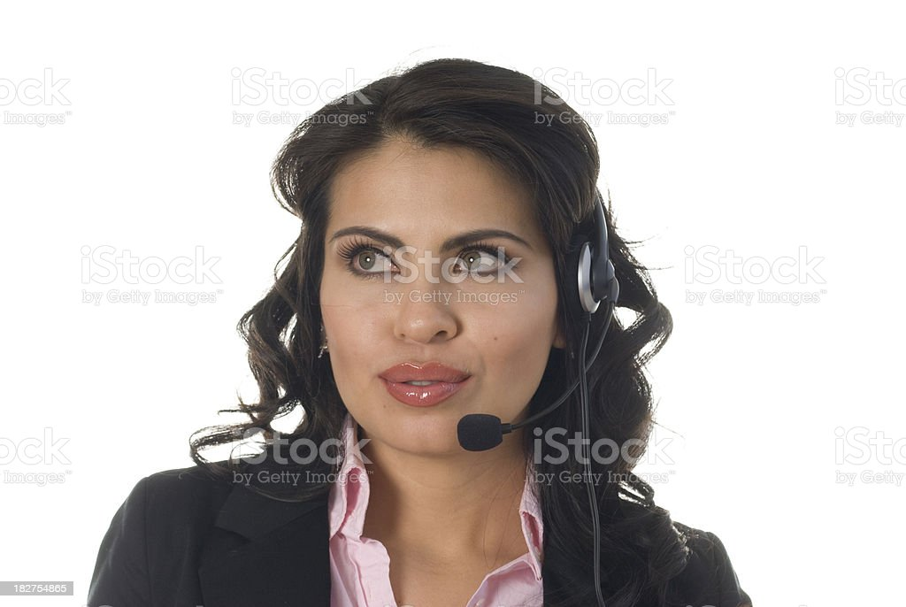Telemarketer Speaking with Customer stock photo