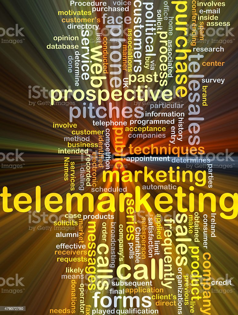 Telemarketing background concept glowing stock photo