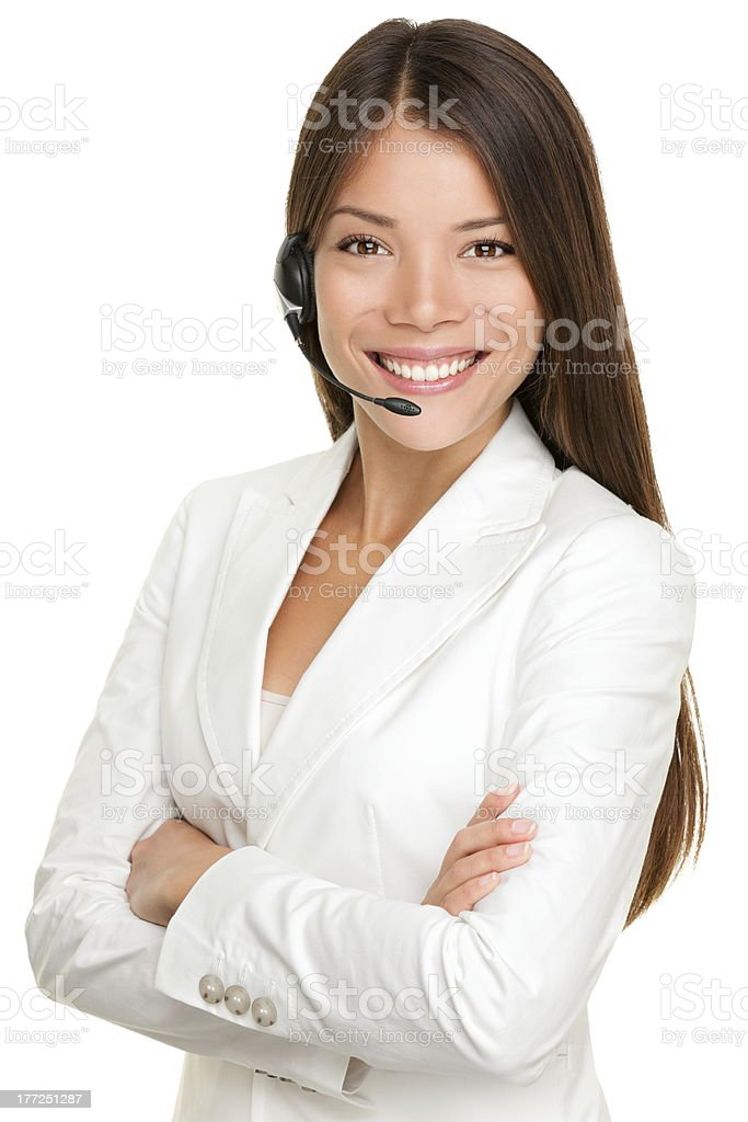 Telemarketing headset woman stock photo