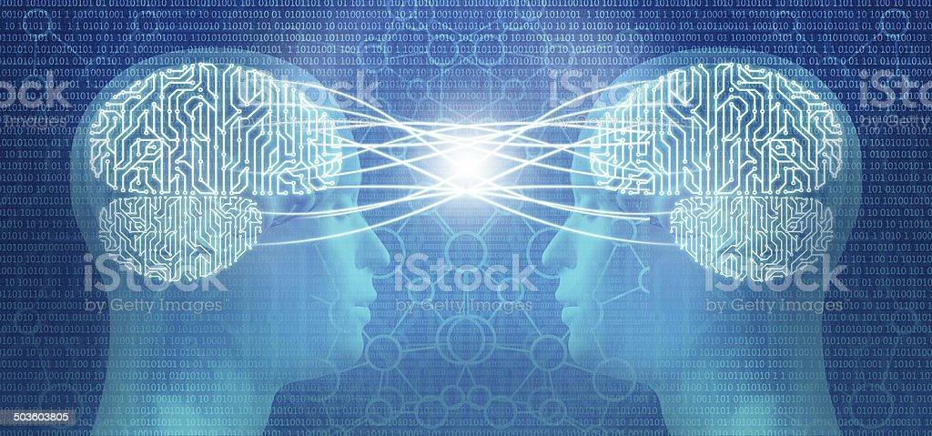 Telepathy: two cyborg human heads and circuit brain, mind control stock photo